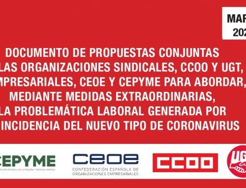 Propuestas conjuntas de Organizaciones Empresariales y Sindicales.