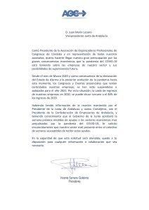 Carta de AOC Córdoba al Vicepresidente de la Junta de Andalucía
