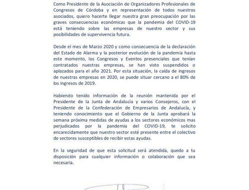 Carta dirigida al Vicepresidente de la Junta de Andalucía, D. Juan Marín,  y al Secretario General de Turismo D. Manuel Muñoz.